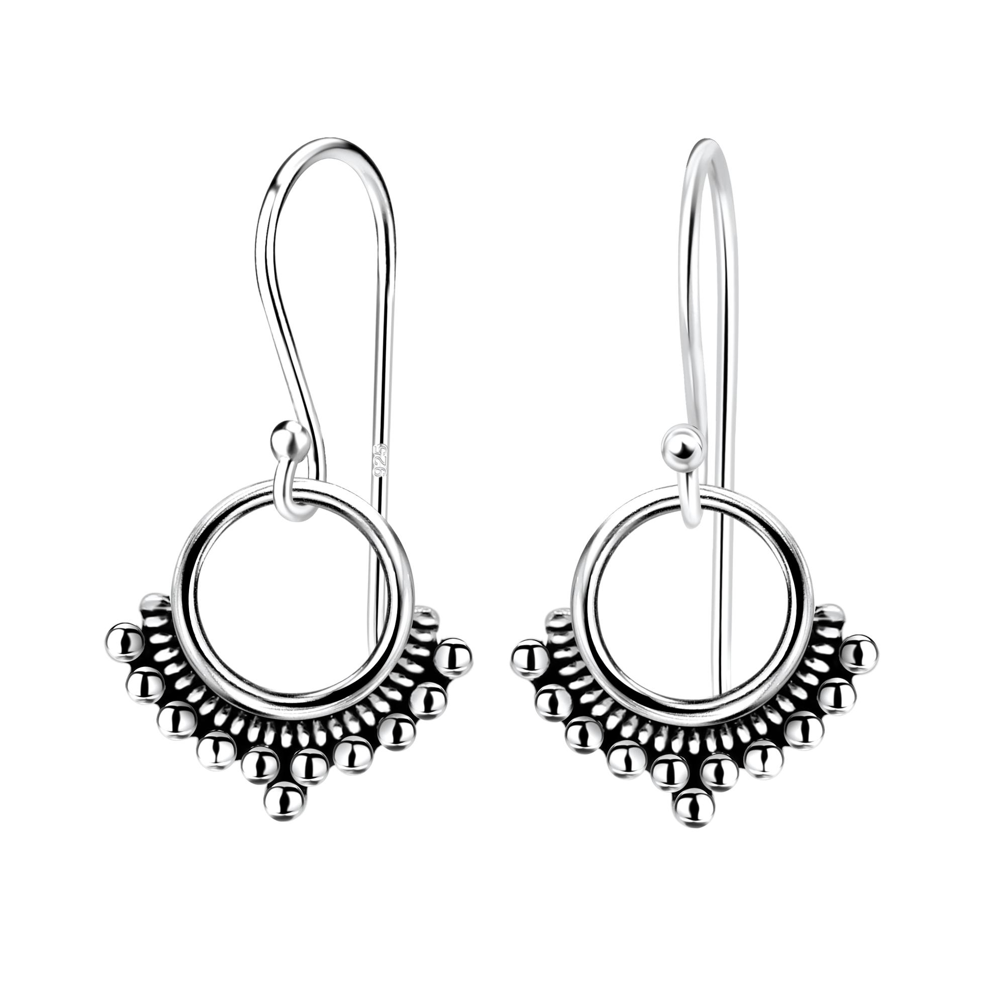 Petite sterling silver circle earrings