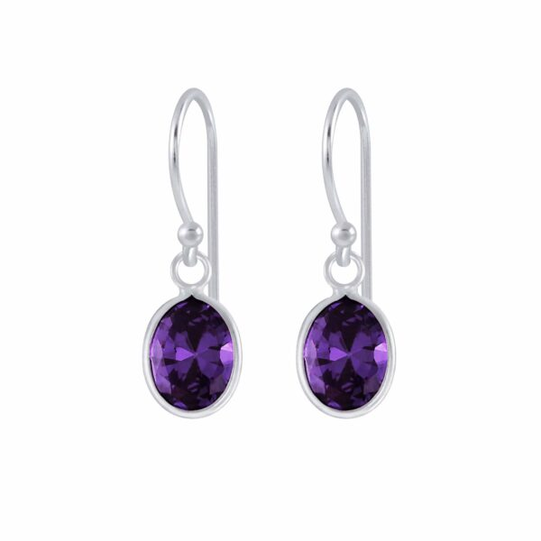 purple cubic zirconia and sterling silver earrings