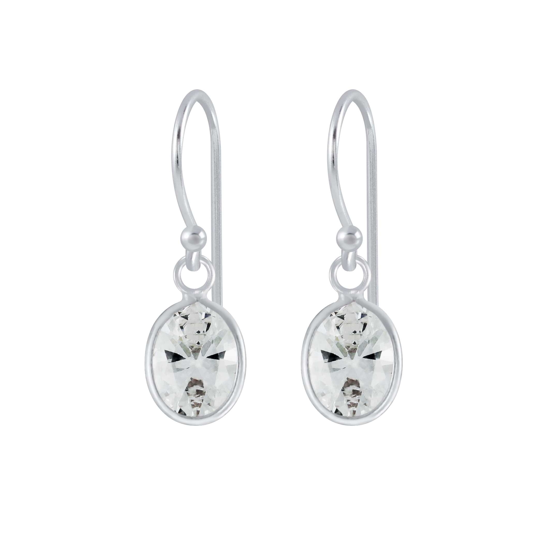 oval cubic zirconia and sterling silver dangle earrings