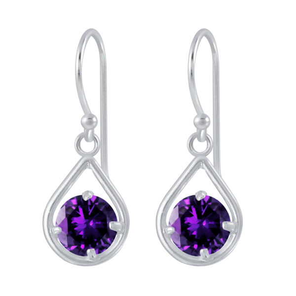 purple crystal and nickel-free sterling silver earrings
