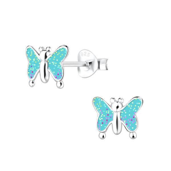 blue enamel and hypoallergenic nickel-free sterling silver blue butterfly stud earrings