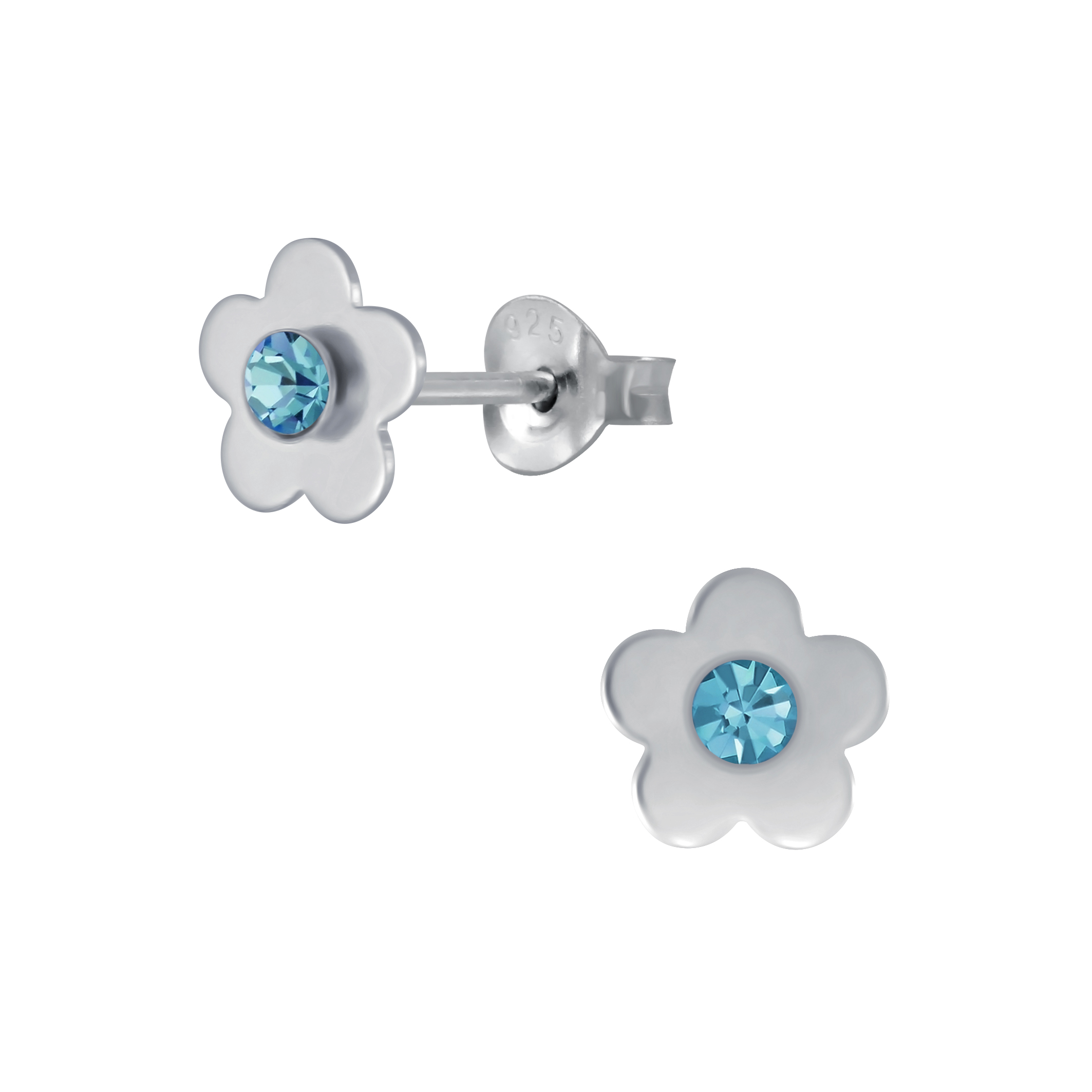 flower stud earrings with blue crystal center