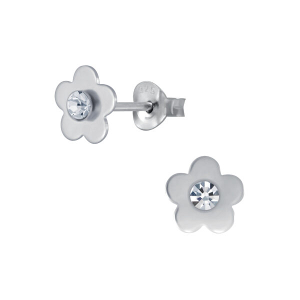 clear crystal and sterling silver daisy post earrings