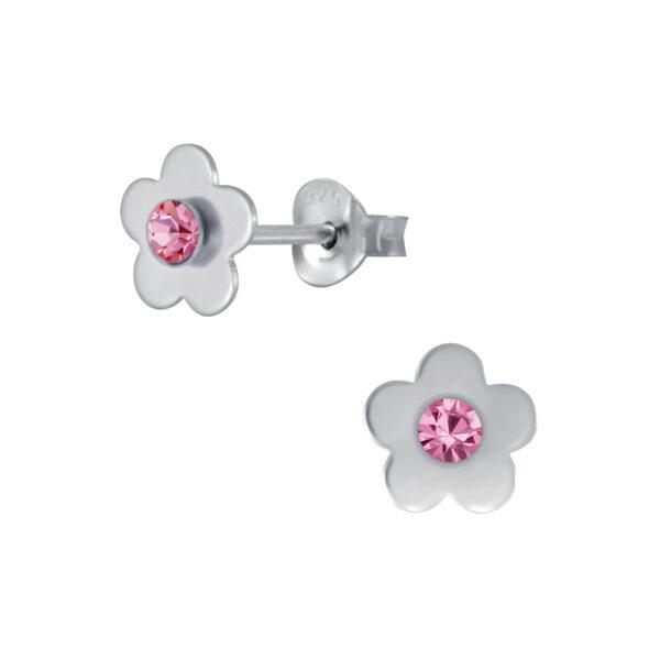 pink crystal and sterling silver flower stud earrings