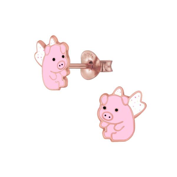 pink flying pig stud earrings