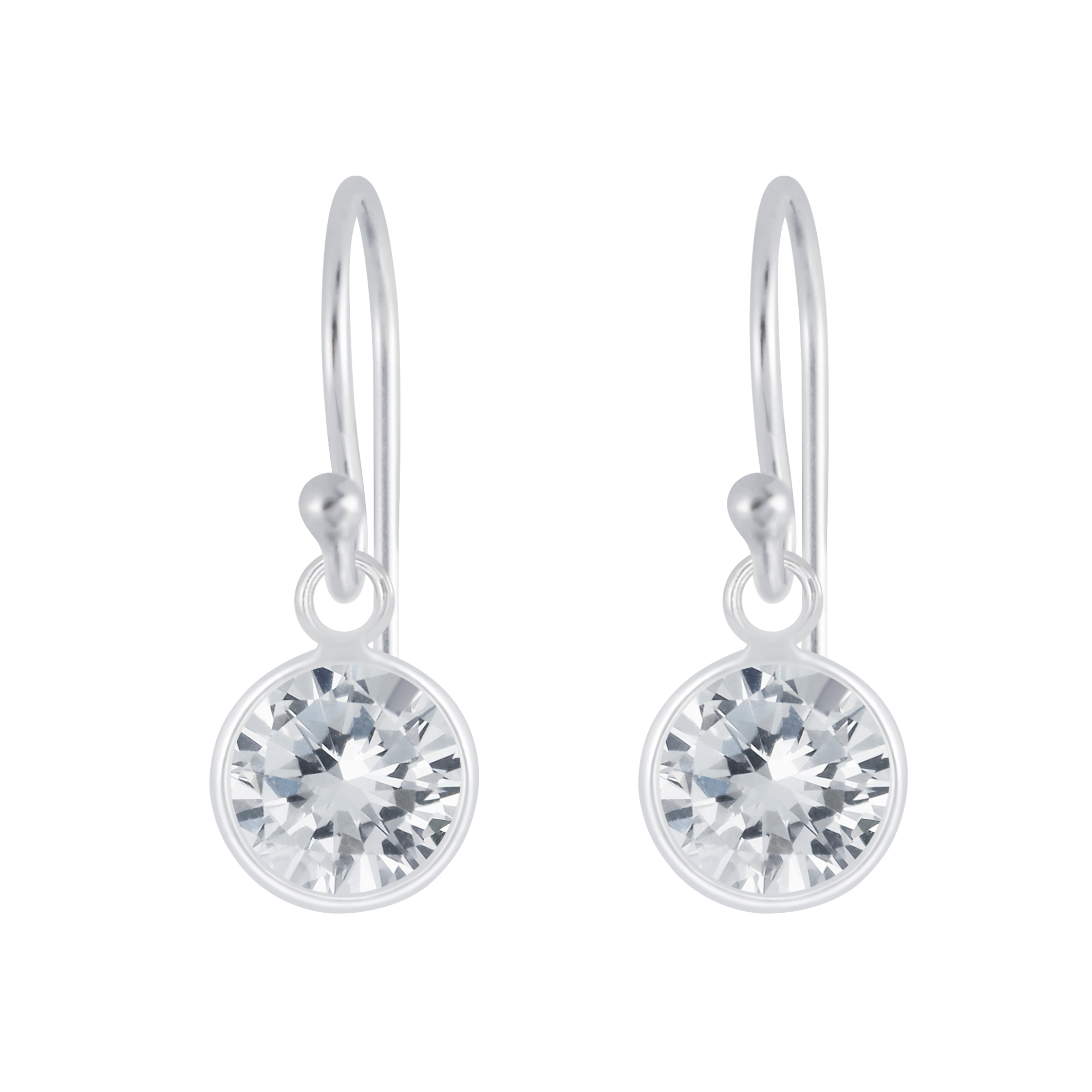 cubic zirconia and nickel-free sterling silver dangle earrings