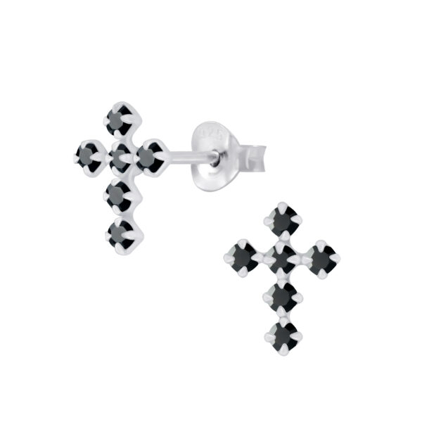 black crystal and sterling silver cross stud earrings
