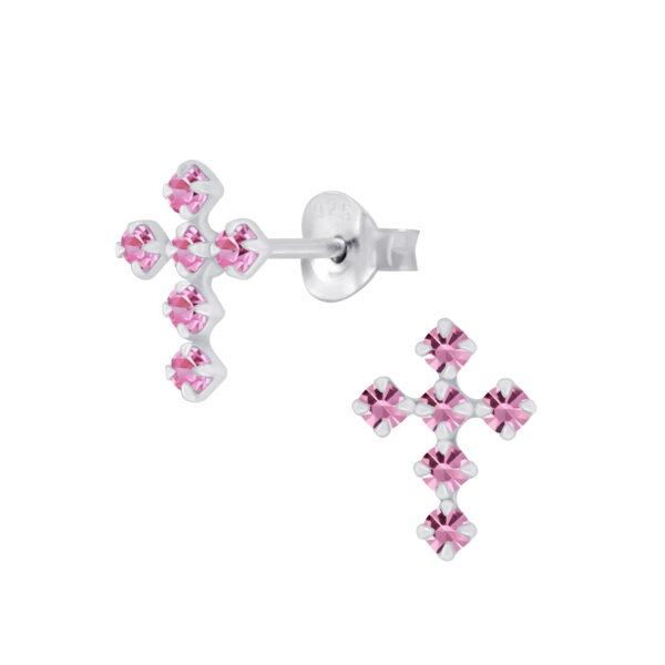 pink crystal and sterling silver post earrings