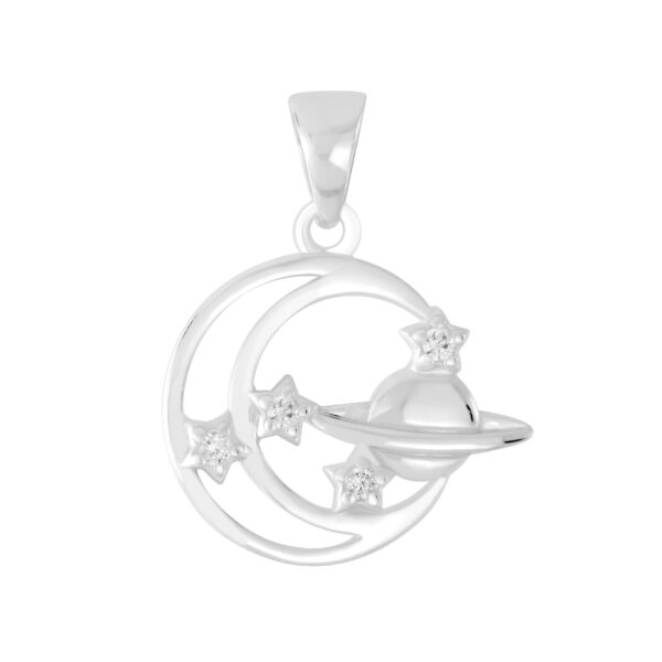 outer space pendant in sterling silver with cubic zirconia accents