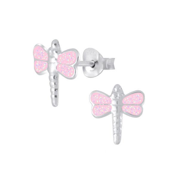 pale pink dragonfly stud earrings