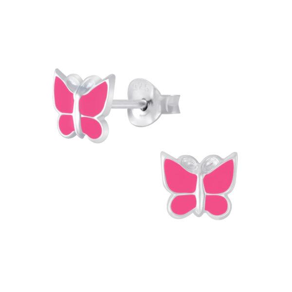 bright pink enamel and nickel-free sterling silver butterfly post earrings