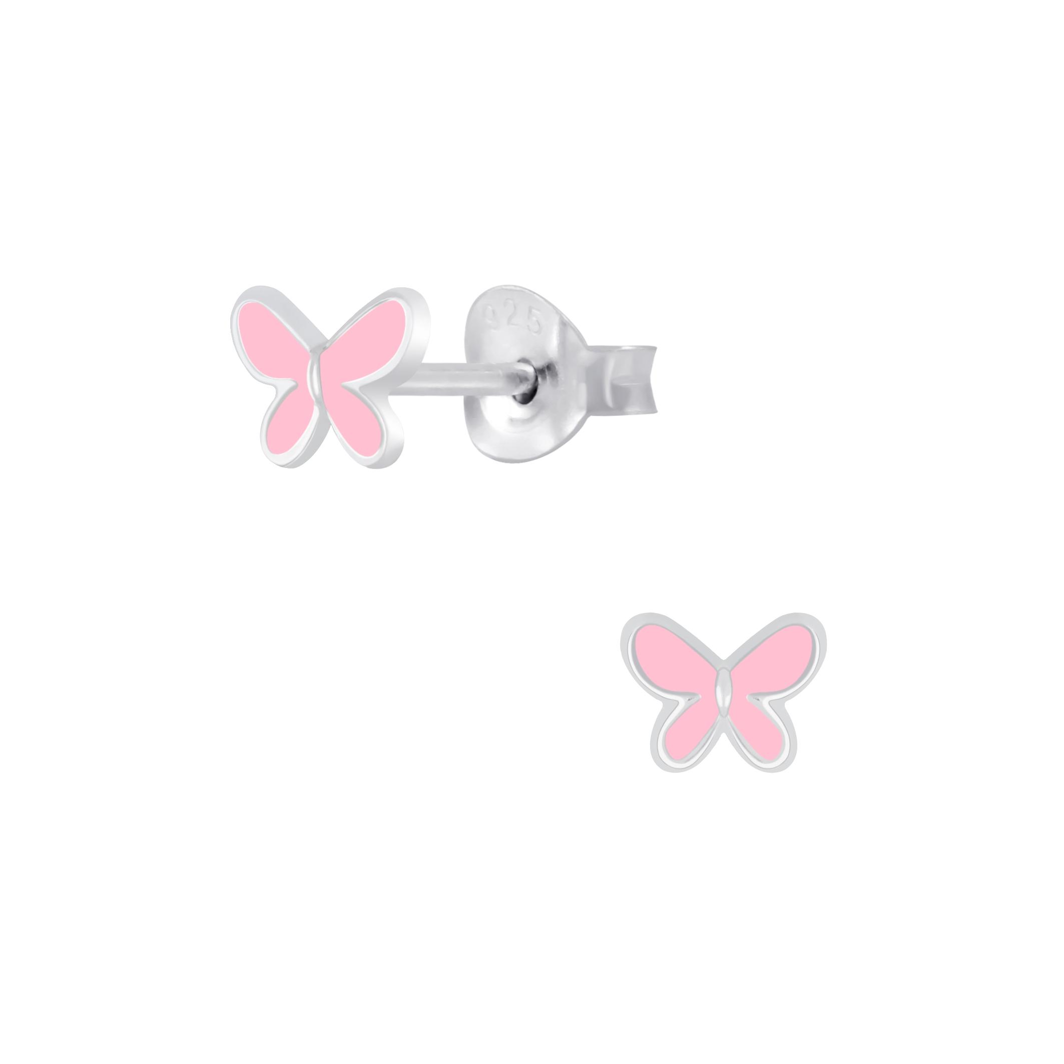pastel pink butterfly post earrings