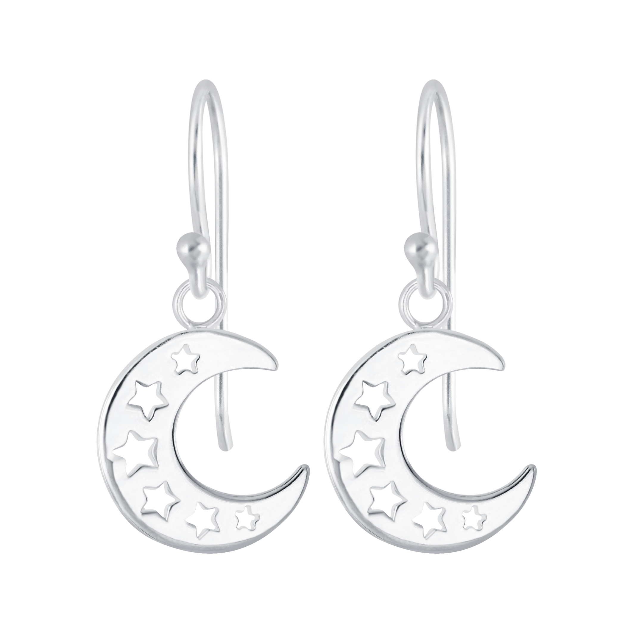moon and star sterling silver earrings