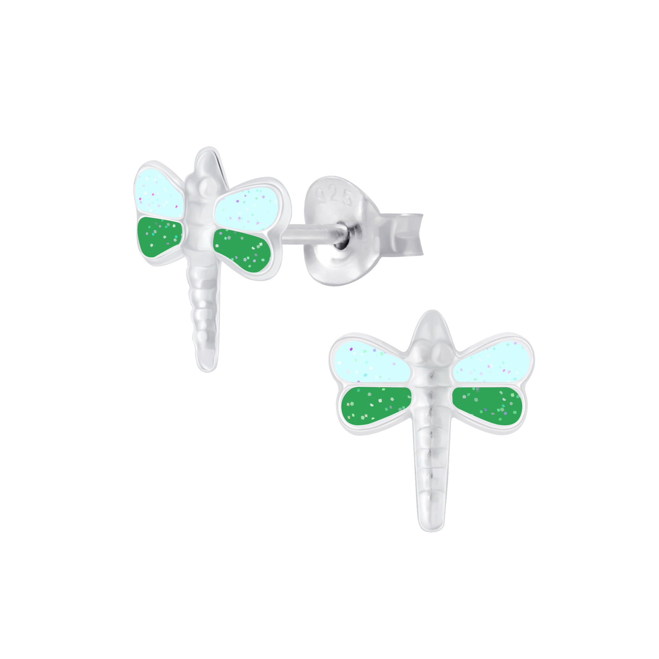 blue and green dragonfly sterling silver stud earrings