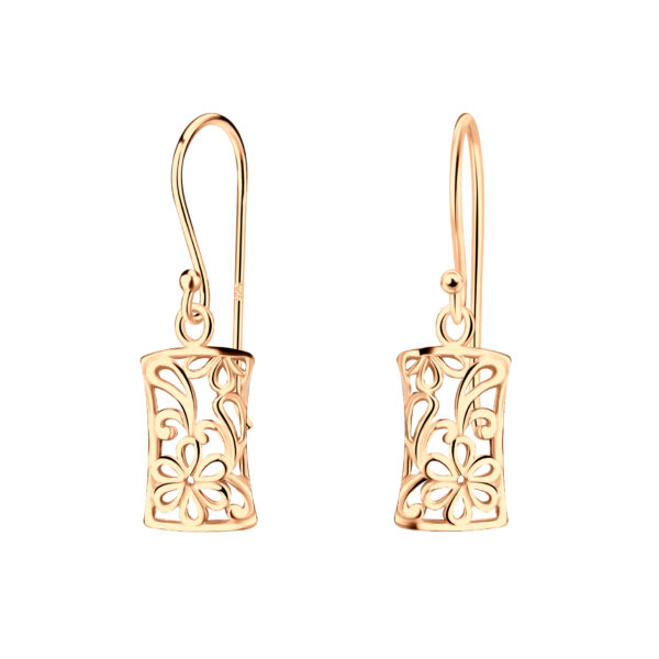 rose gold-plated sterling silver rectangle filigree earrings with flower design