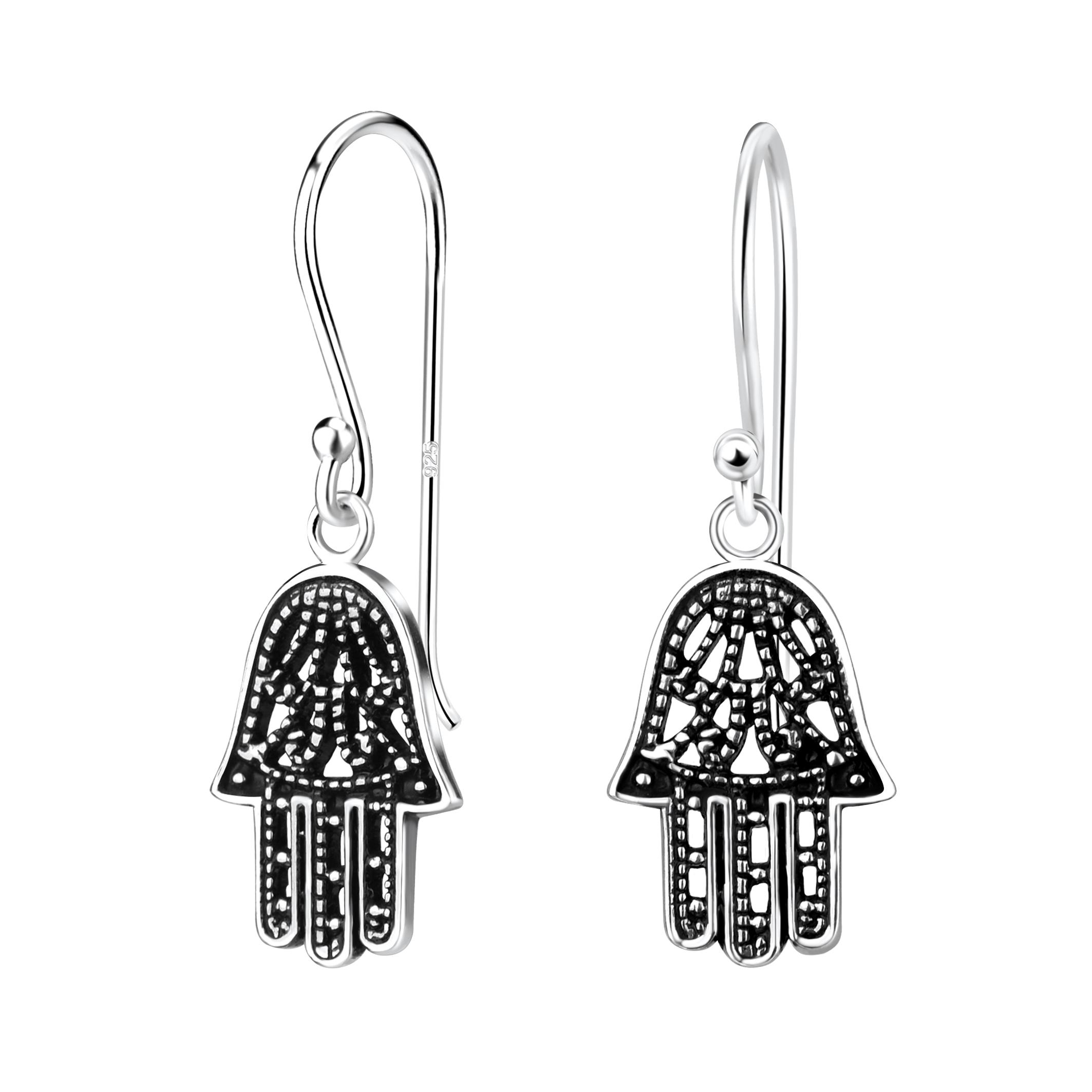 hamsa hand sterling silver earrings