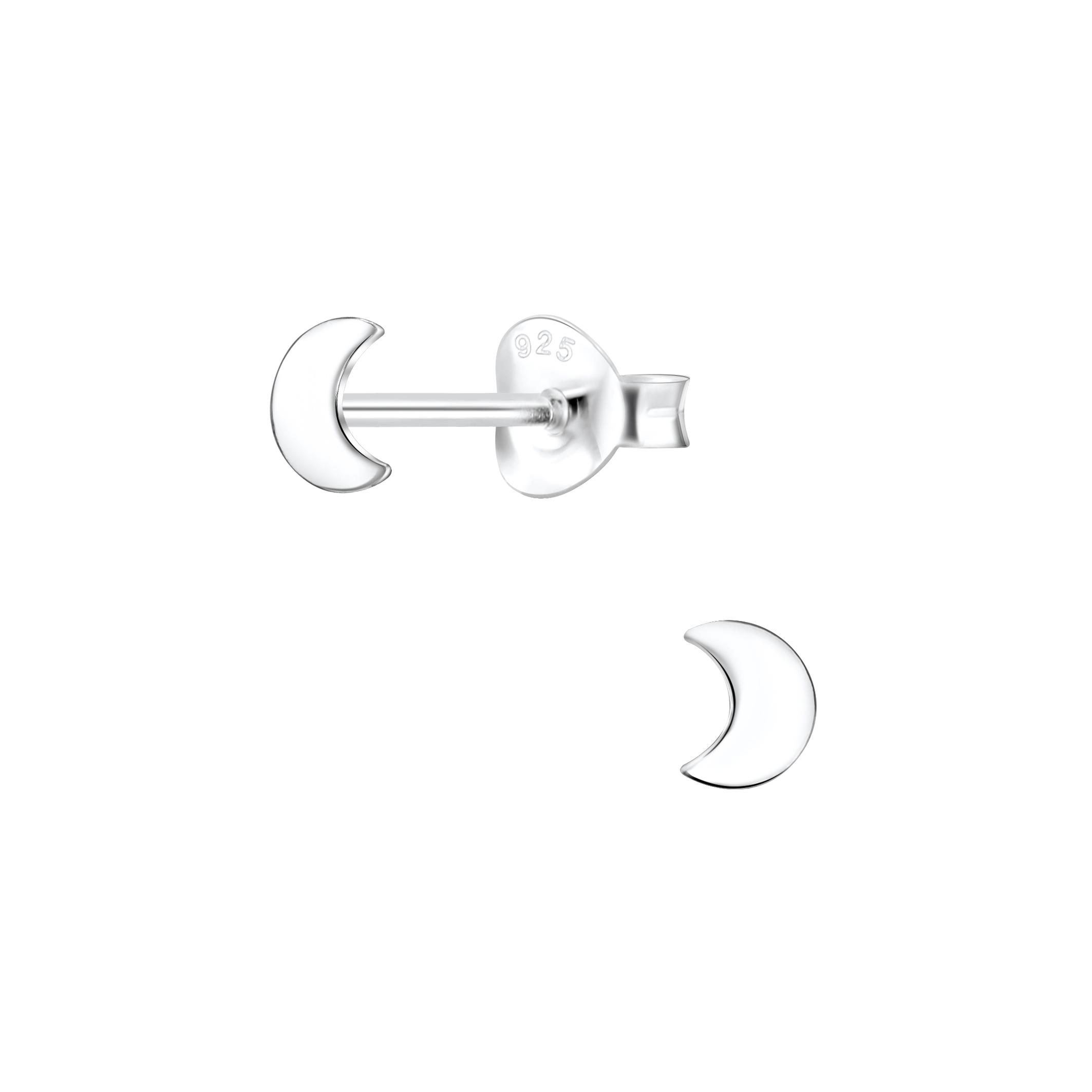 sterling silver moon post earrings