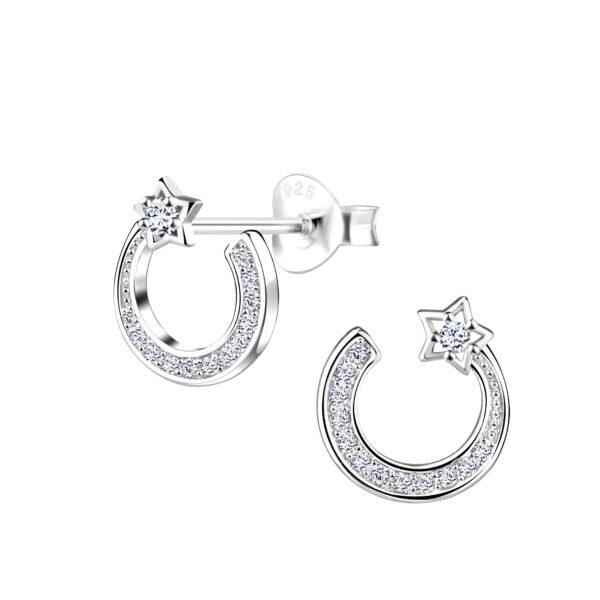 shooting star nickel-free sterling silver and cubic zirconia stud earrings
