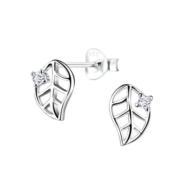 petite leaf stud earrings with cubic zirconia