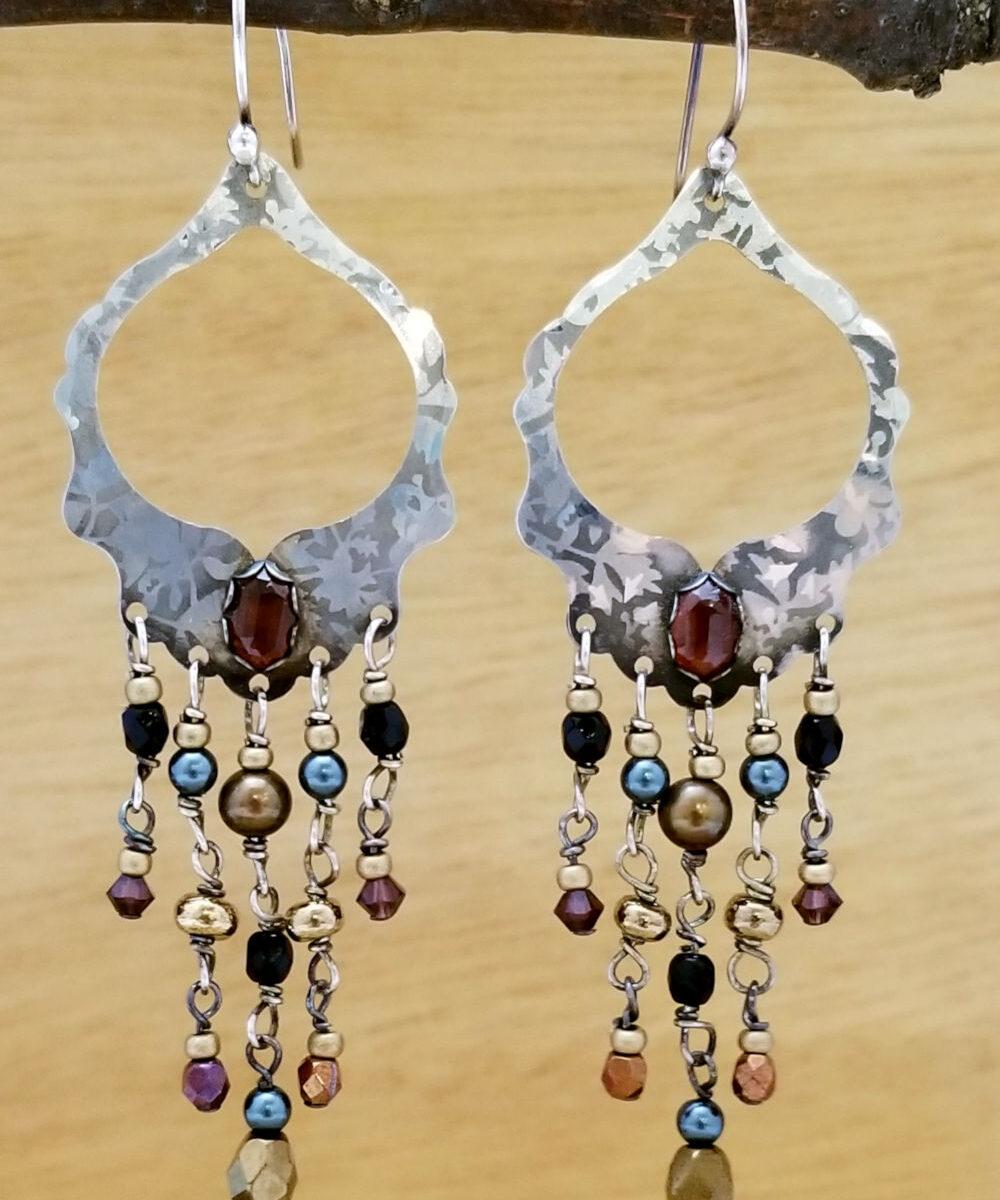 Brown Charlotte Chandelier earrings