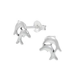 double dolphin sterling silver stud earrings