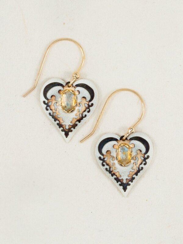 Labradorite heart earrings by jewelry designer Holly Yashi