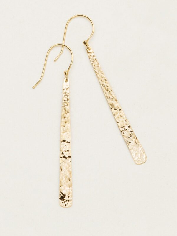 Long hand hammered gold-overlay drop earrings by jewelry designer Holly Yashi