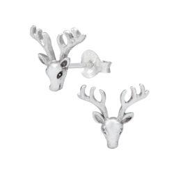deer with antlers sterling silver post earrings