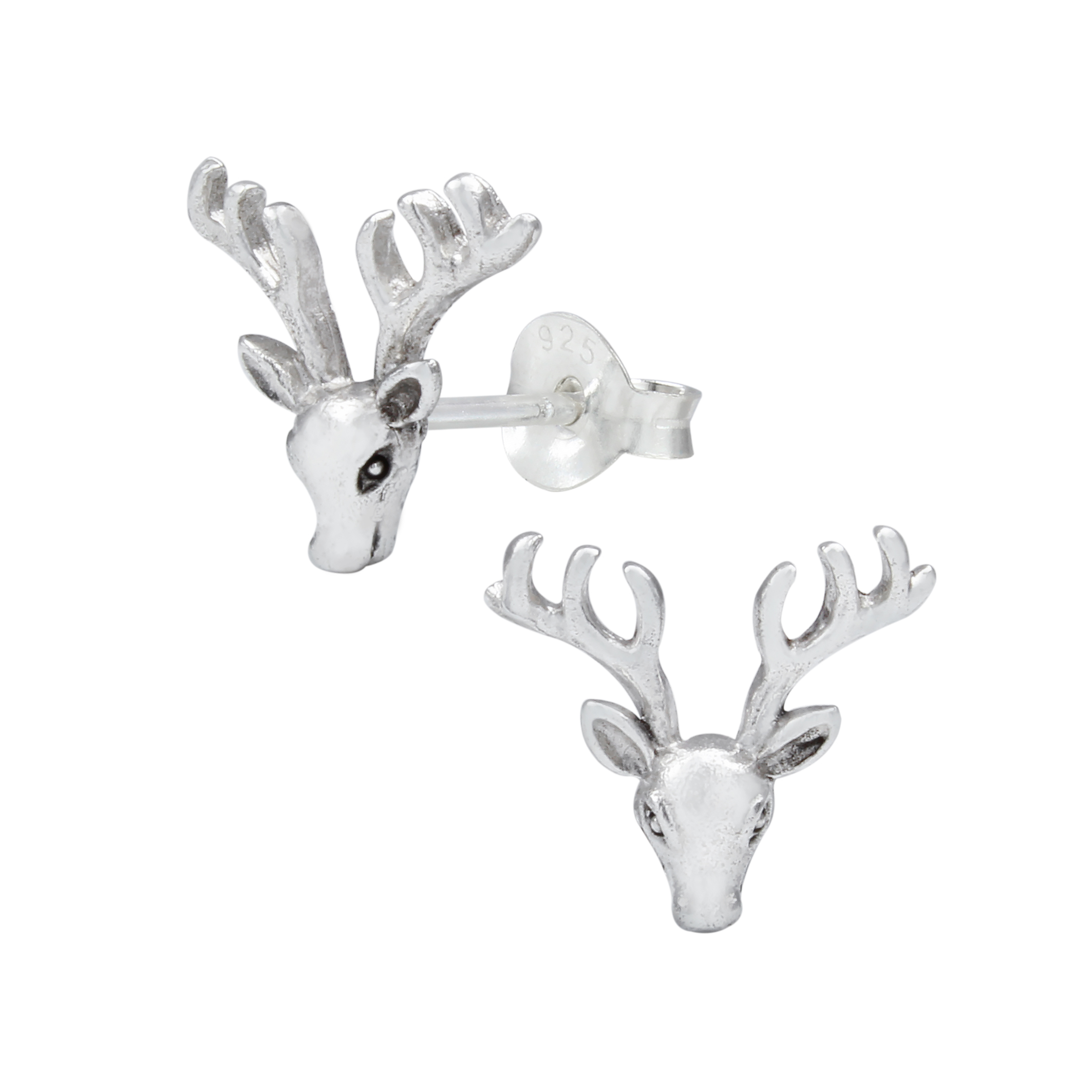 deer with antlers sterling silver post earrings