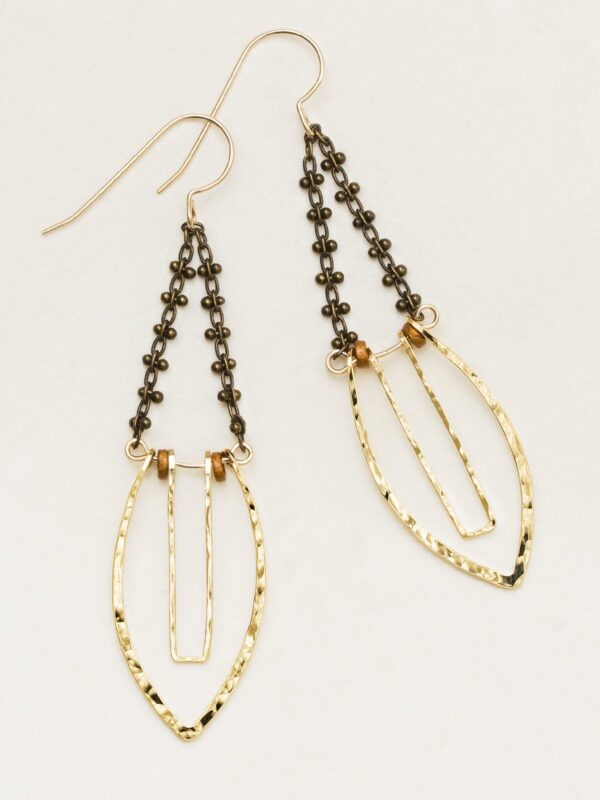 Handmade Goldtone and brown Statement earrings by Holly Yashi