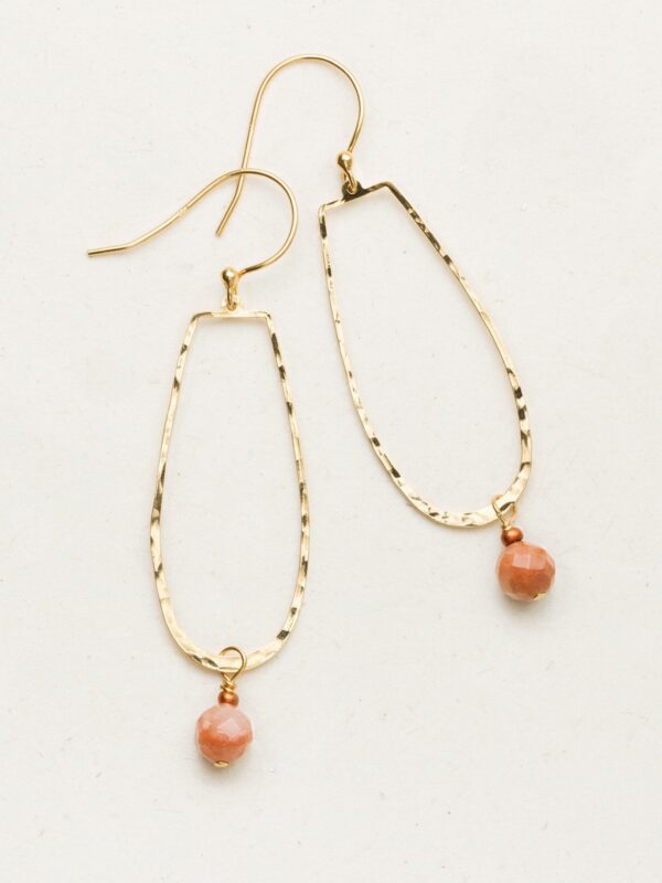 Long dangle earrings with sunstone accents