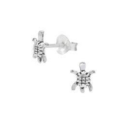 petite sterling silver turtle earrings