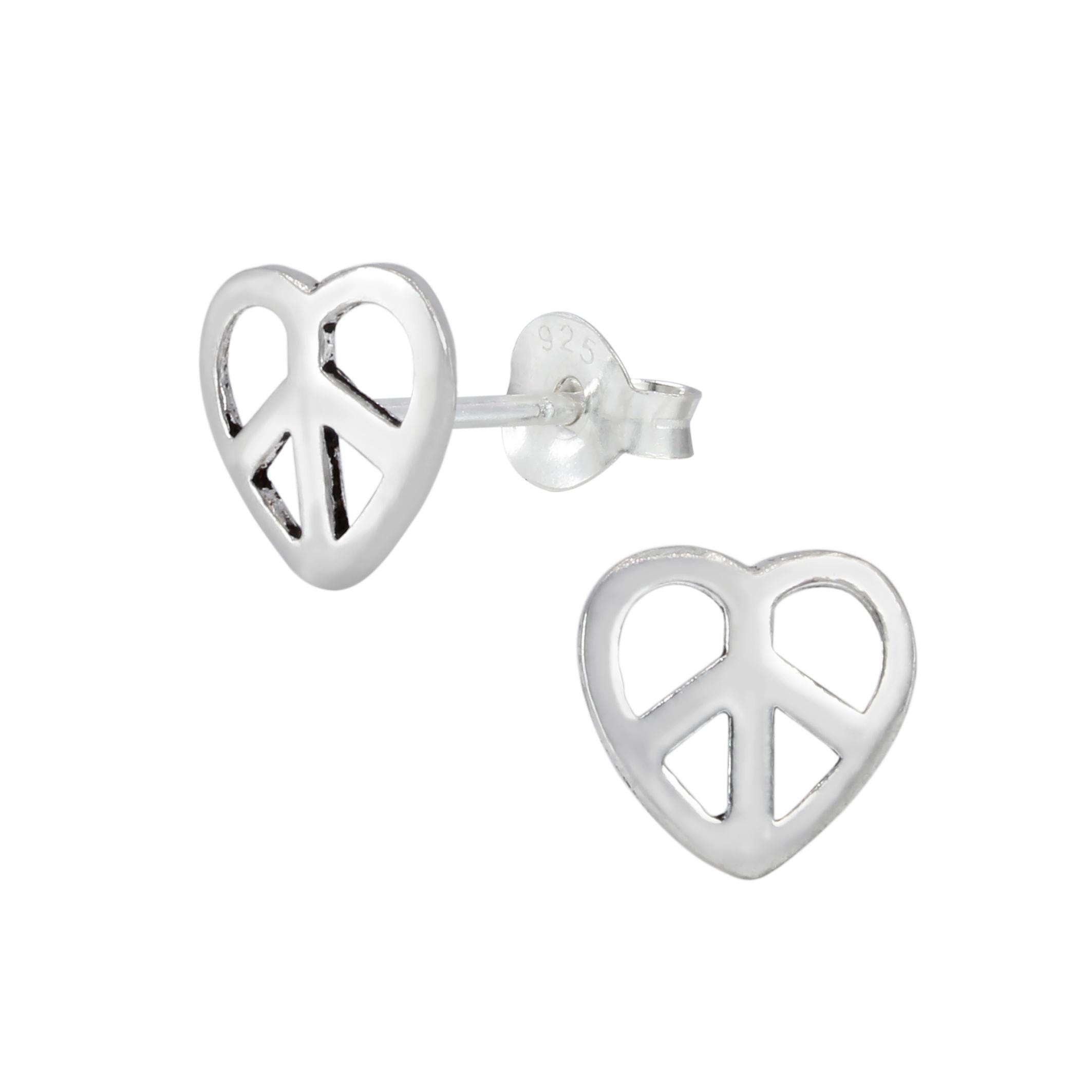 peace sign in heart post earrings