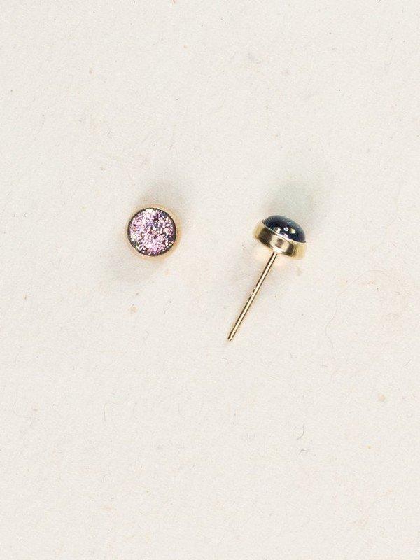 Petite blush color Holly Yashi dichroic glass stud earrings