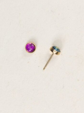 Holly Yashi magenta dichroic glass stud earrings