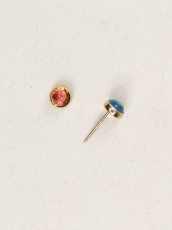 Holly Yashi orange dichroic glass stud earrings