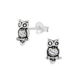owl sterling silver post earrings