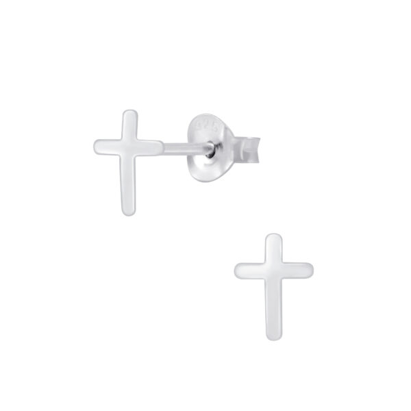 cross sterling silver post earrings
