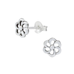 petite flower sterling silver stud earrings
