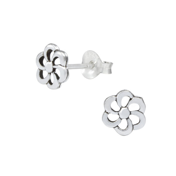 petite flower sterling silver stud earrings