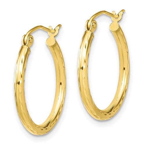 10k yellow gold 20 MM textured hoop earrings