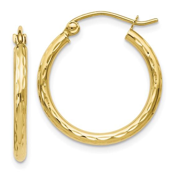 10k textured yellow hoop earrings
