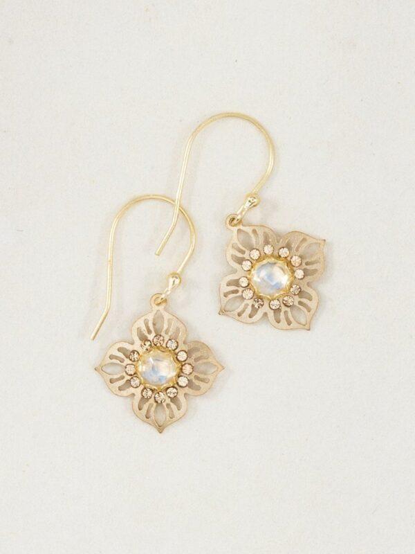 Rainbow Moonstone and Swarovski Crystal goldtone flower earrings by Holly Yashi
