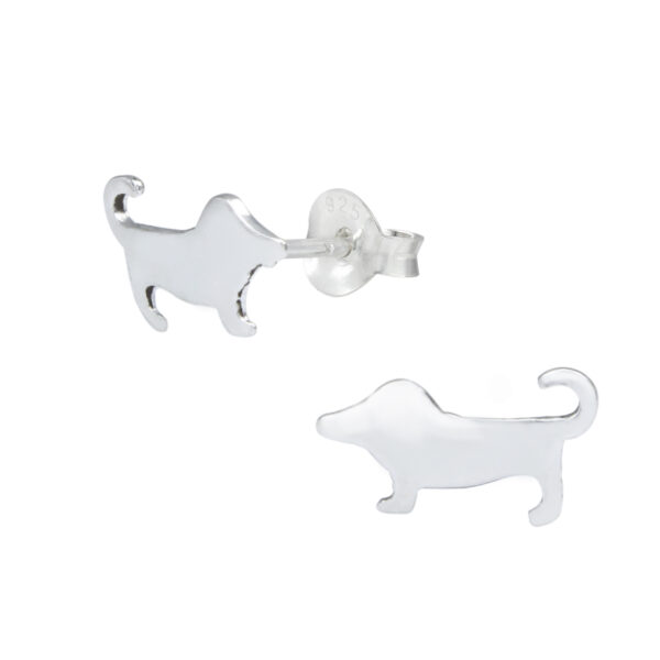 Dachshund, Wiener Dog Sterling Silver Stud Earrings