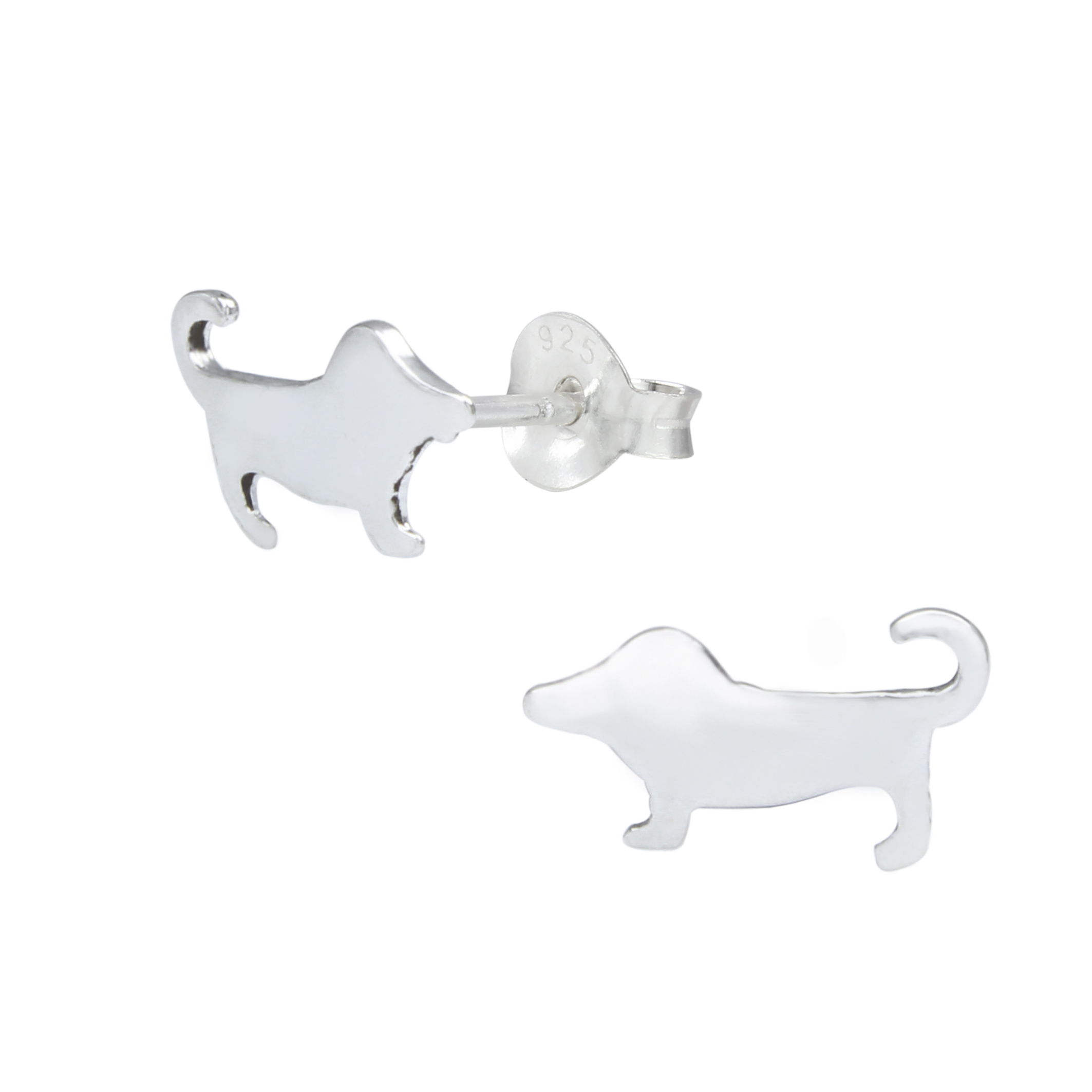 Dachshund, Wiener Dog Sterling Silver Stud Earrings