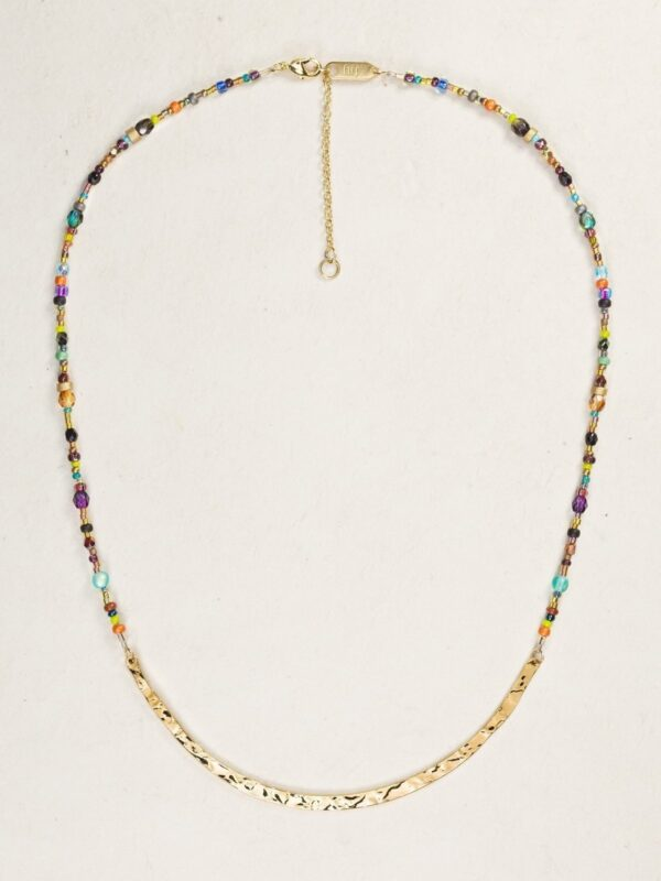 Holly Yashi colorful beaded necklace with hand hammered gold-overlay metal center