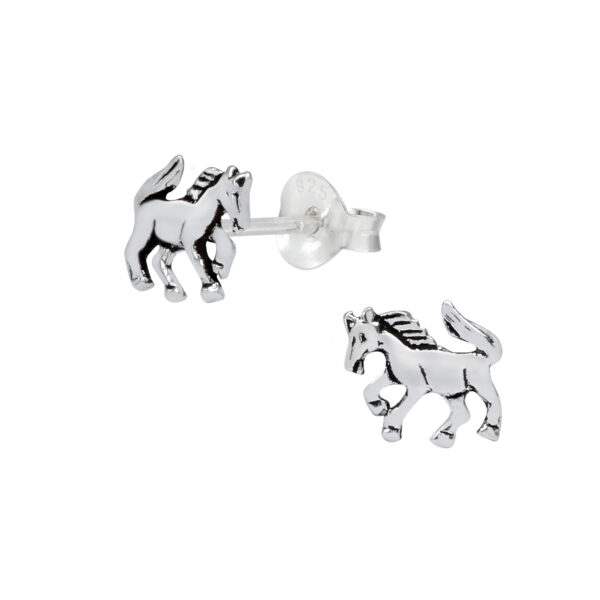 horse sterling silver post earrings