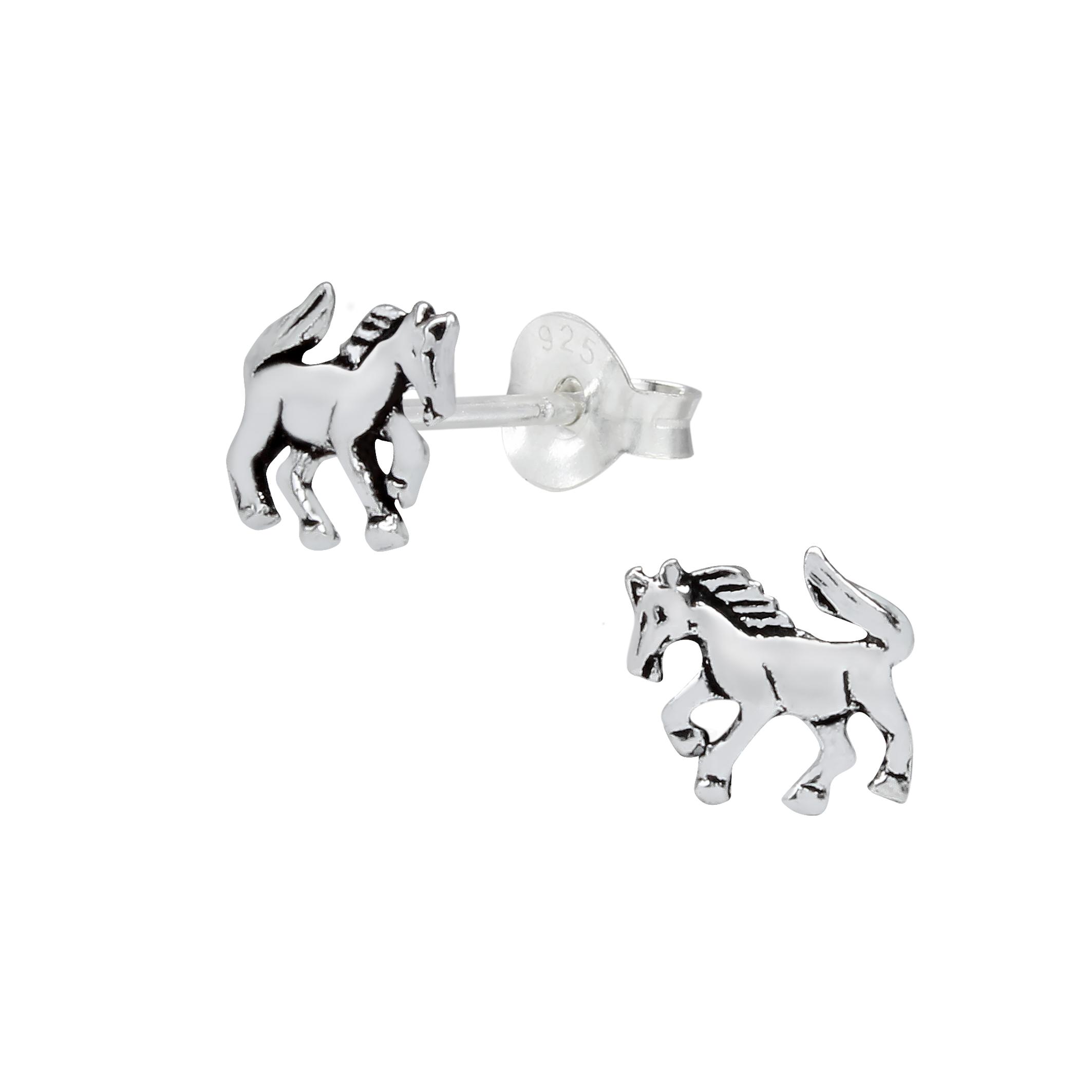 horse sterling silver post earrings