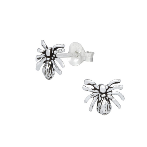 spider sterling silver post earrings