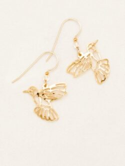 hummingbird goldtone outline earrings by Holly Yashi